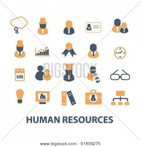 human resources, management, organization icons, signs, illustrations set, vector