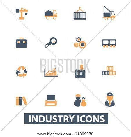 industrial icons, signs, illustrations set, vector
