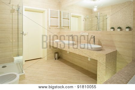 Beige Toilet Interior