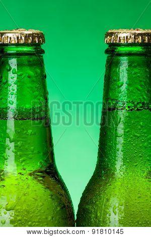 Macro Of Wet Green Beer Bottles