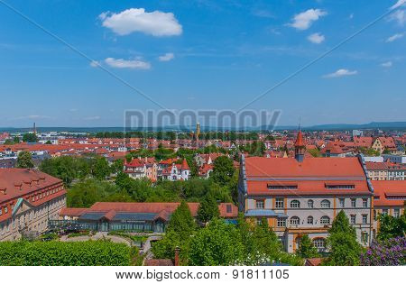 Cityscape of Bamberg with blue Sky.