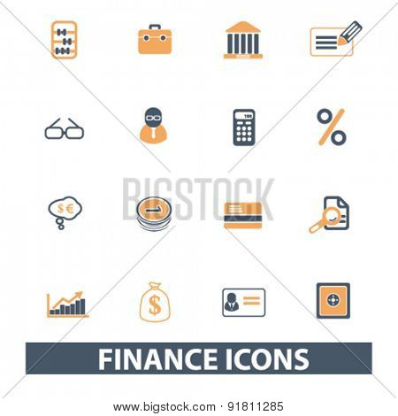 finance, bank icons, signs, illustrations set, vector