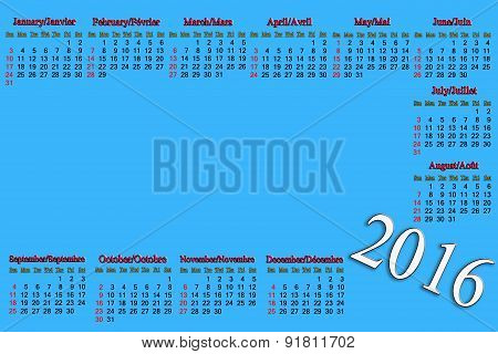 calendar for 2016 in English and French with place for text