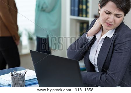 Office Worker With Tense Neck Muscles