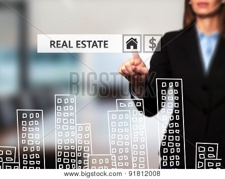 Real estate agent pressing button on virtual screen. Women finger on home icon