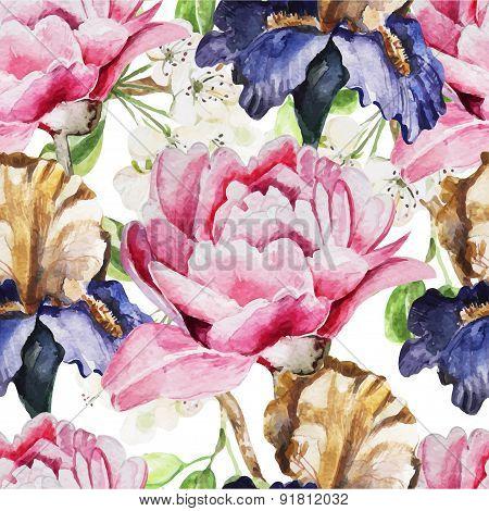 Seamless pattern with watercolor flowers. Iris. Peonies