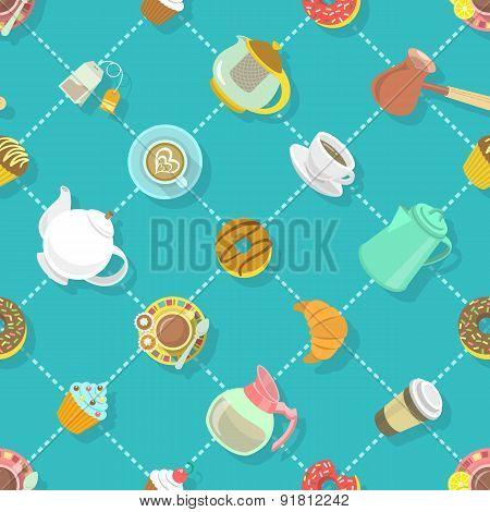 Flat City Cafe Seamless Pattern