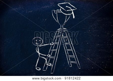 Boy Going Up A Ladder To Catch A Trophy With Graduation Cap