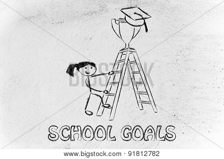 School Goals, Girl About To Catch A Trophy With Graduation Cap