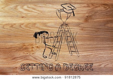 Getting A Degree, Girl About To Catch A Trophy With Graduation Cap