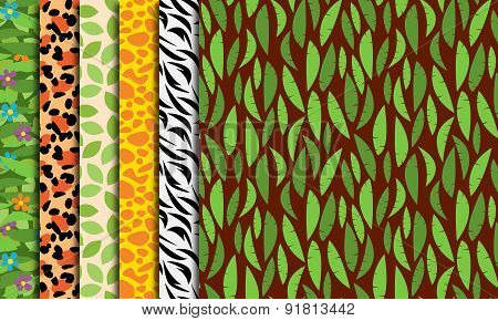 Seamless, Tileable Jungle or Zoo Animal Themed Background Patterns