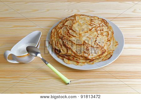 Homemade Pancakes With Sour Cream