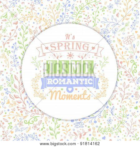 Floral Seamless Background And Vintage Typography Spring Lettering