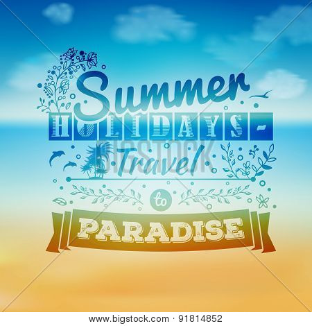 Vintage Typography Lettering With Floral Ornaments And Summer Landscape