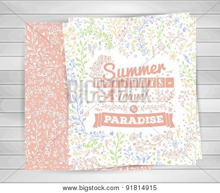 Cards With Flower Ornaments, Typography Summer Lettering On Wooden Background.