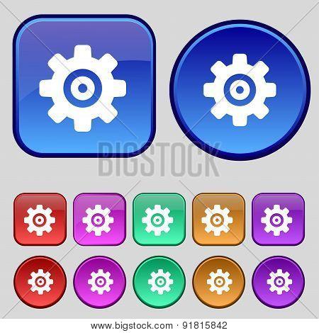 Cog Settings, Cogwheel Gear Mechanism Icon Sign. A Set Of Twelve Vintage Buttons For Your Design. Ve