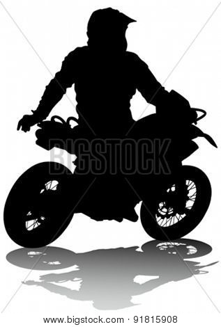 Motorcyclist performed extreme stunts on a white background