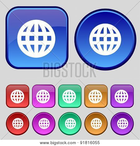 Globe, World Map Geography Icon Sign. A Set Of Twelve Vintage Buttons For Your Design. Vector