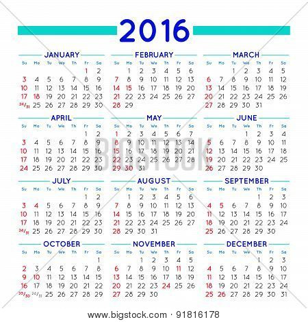 Squared 2016 Calendar