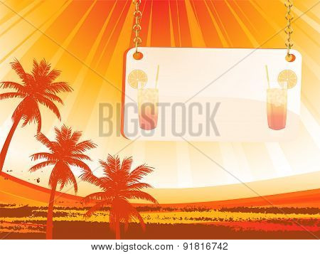 Abstract Palm Trees And Message Background