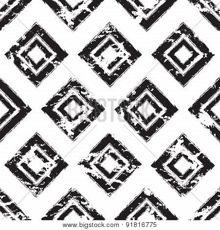 Vector Square Ornament Grunge Seamless Pattern. Abstract Black And White Tribal Texture Background