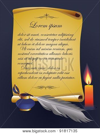 Vector background scroll, quill pen, inkwell and a burning candle.