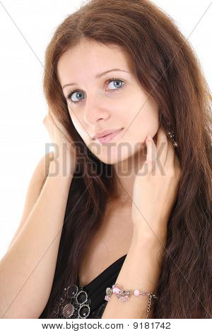 Portrait Of Cute Woman Over White