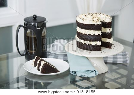 Chocolate Cake Served With Fresh Brewed Coffee