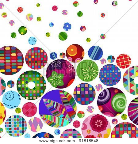 Multicolor abstract bright background with ornamental circles. Elements for design.