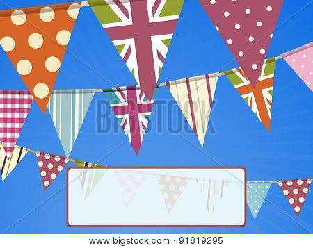 Bunting On Blue Sky And Message