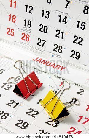Paper Clips On Calendar