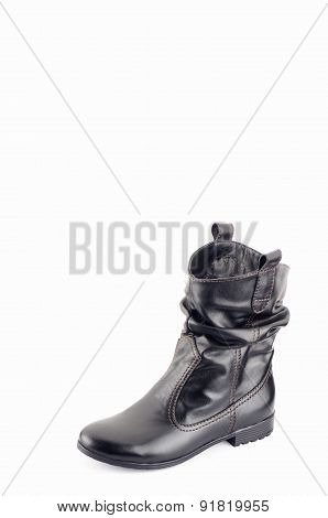 Black women's boots on a white background