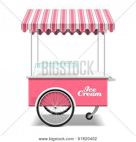 Rose ice cream cart vector illustration