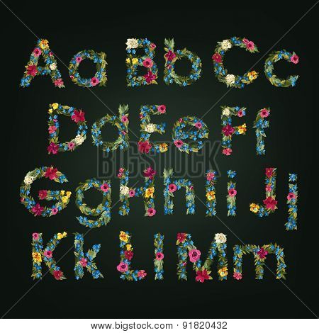 Flower letters. Vector alphabet. Colorful font. Lowercase and Uppercase.