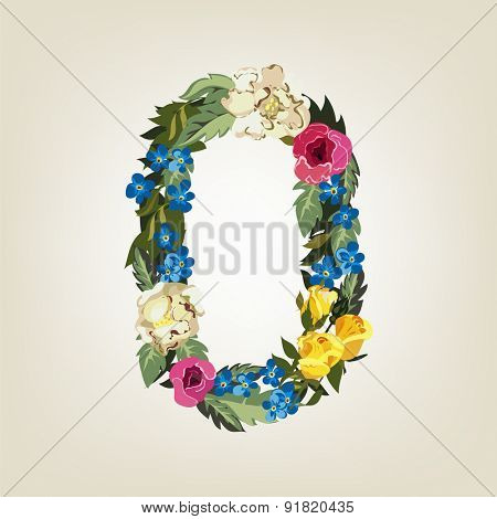 Number 0, Vector Colorful Flower Font For Your Design.