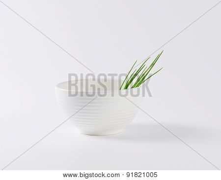 side view of pure white ceramic bowl with fresh pieces of chive