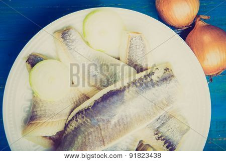 Vintage Photo Of Herring With Onions