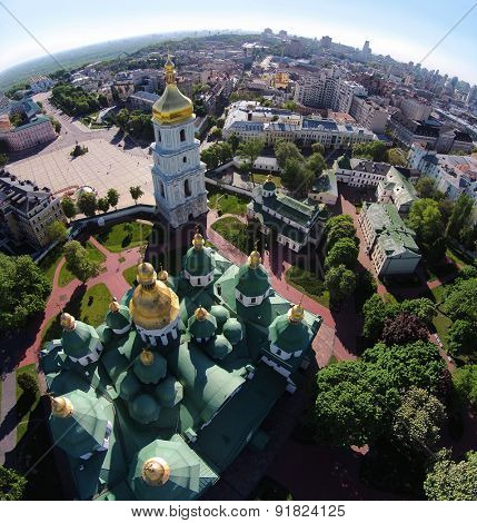 aerial view of Saint Sophia Cathedral in Kiev, Ukraine