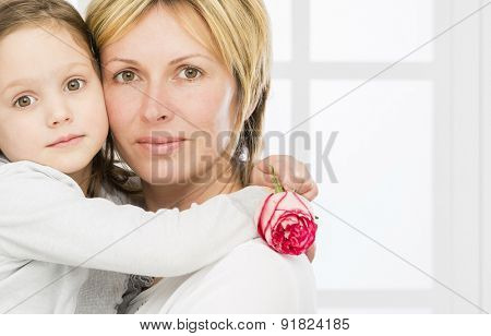Forty years mother with her five years old daughter