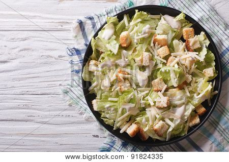 Caesar Salad On A Plate. Horizontal Top View