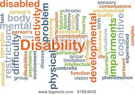 Background concept wordcloud illustration of disability