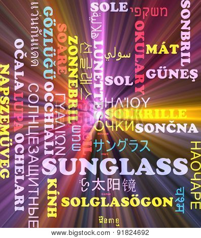Background concept wordcloud multilanguage international many language illustration of sunglass glowing light