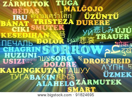 Background concept wordcloud multilanguage international many language illustration of sorrow glowing light