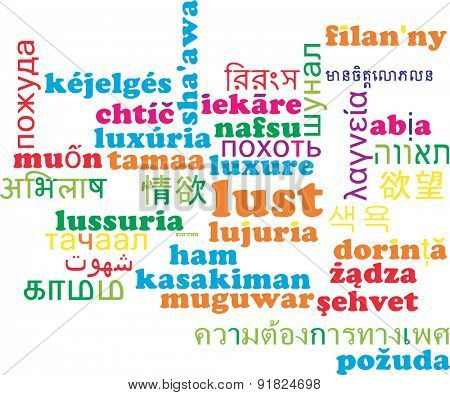 Background concept wordcloud multilanguage international many language illustration of lust