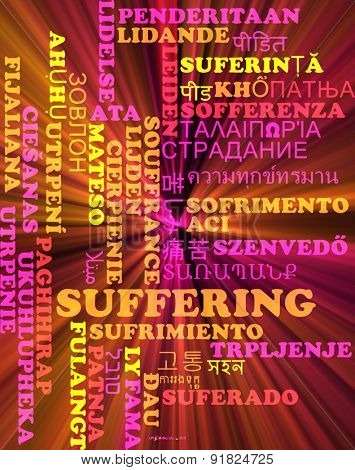 Background concept wordcloud multilanguage international many language illustration of suffering glowing light