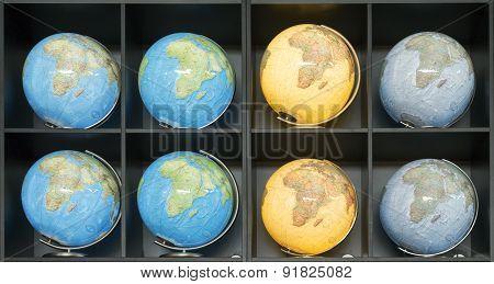 Many Illuminated Globes