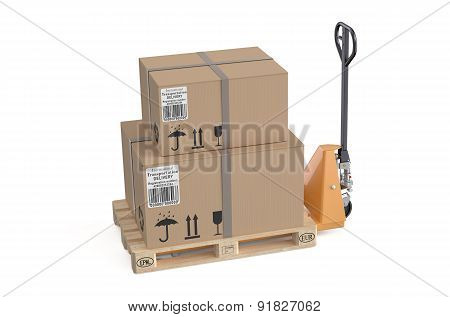 Pallet Jack With Cardboard Box