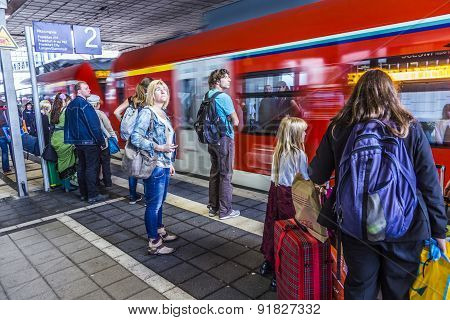 People Enter The Subway At Station Messe In  Frankfurt
