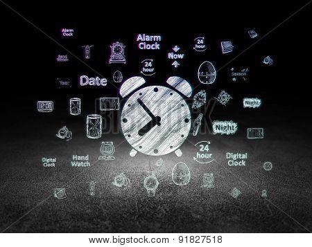 Time concept: Alarm Clock in grunge dark room