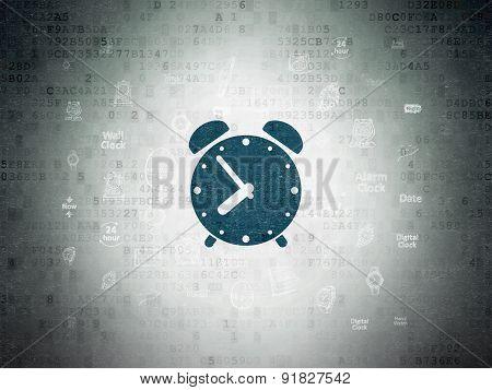 Timeline concept: Alarm Clock on Digital Paper background